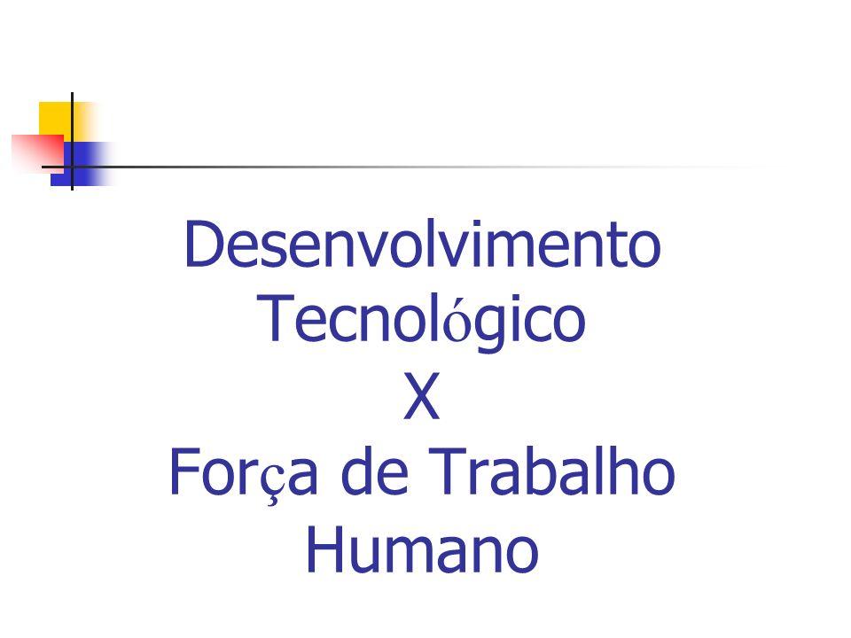 Desenvolvimento Tecnol ó gico X For ç a de Trabalho Humano