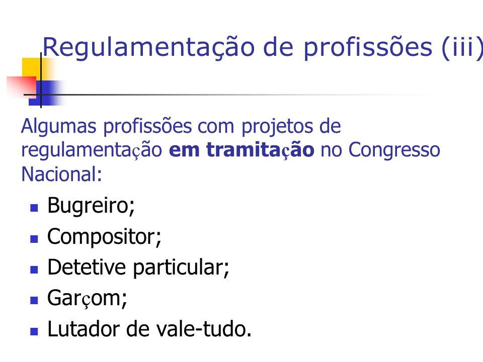 Algumas profissões com projetos de regulamenta ç ão em tramita ç ão no Congresso Nacional: Bugreiro; Compositor; Detetive particular; Gar ç om; Lutador de vale-tudo.