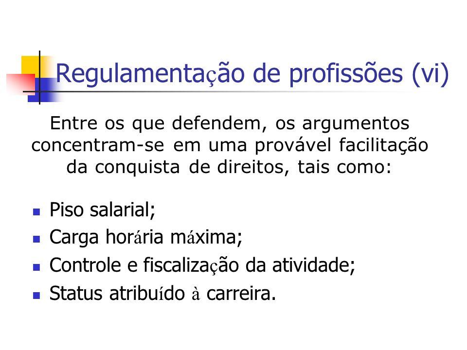 Regulamenta ç ão de profissões (vi) Piso salarial; Carga hor á ria m á xima; Controle e fiscaliza ç ão da atividade; Status atribu í do à carreira.