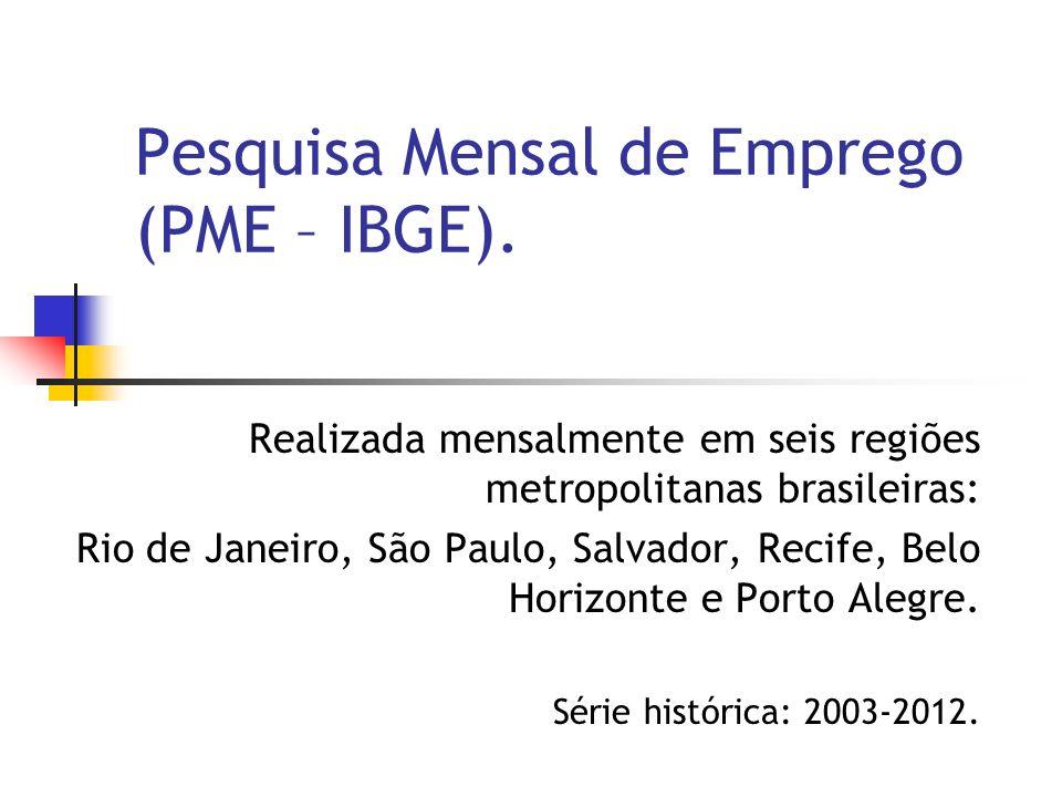 Realizada mensalmente em seis regiões metropolitanas brasileiras: Rio de Janeiro, São Paulo, Salvador, Recife, Belo Horizonte e Porto Alegre.