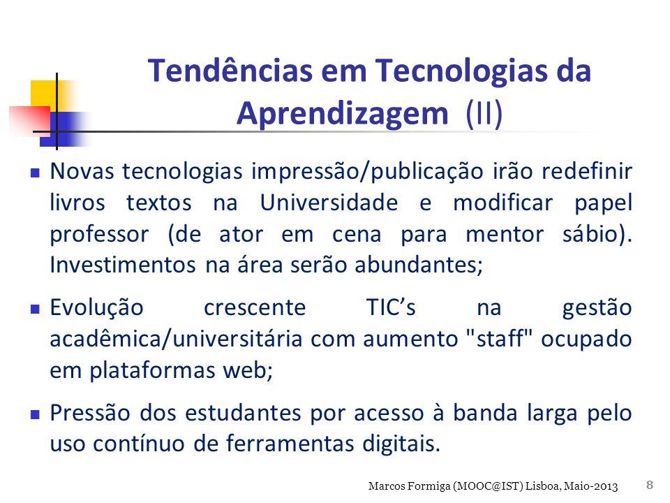 Educação Brasil Mais TI Estruturado três eixos formação profissional: Conhecimento, Capacitação e Oportunidades Foco construir grande plataforma relacionamento digital estudantes e profissionais TI Meta capacitar 50 mil novos profissionais até 2014, e atingir 900mil, em 2022 Marcos Formiga (MOOC@IST) Lisboa, Maio-2013 9