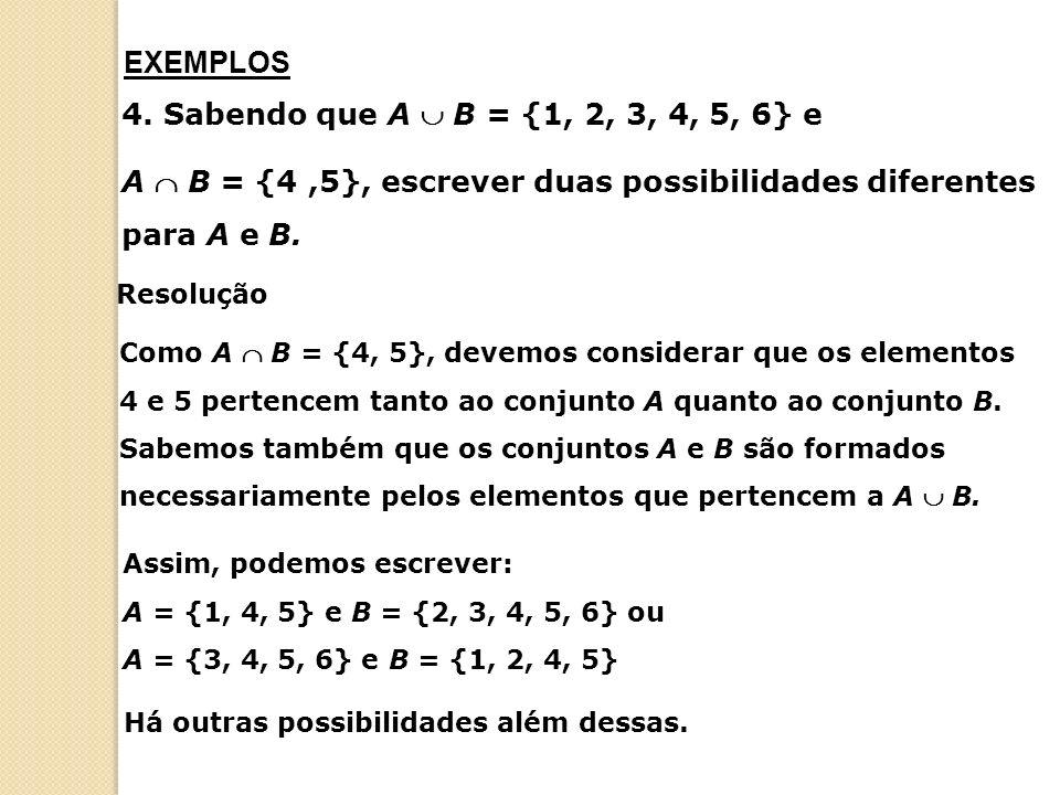 Operações com conjuntos A = {xx é um número natural e está entre 20 e 30} B = {xx é um número primo menor que 30} A – B = {21, 22, 24, 25, 26, 27, 28} Diferença de conjuntos A região hachurada representa A B.