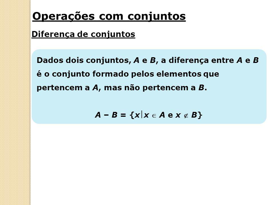 Complementar de um conjunto Dados os conjuntos A e B, o complementar do conjunto B em relação a A é a parte laranja da figura.