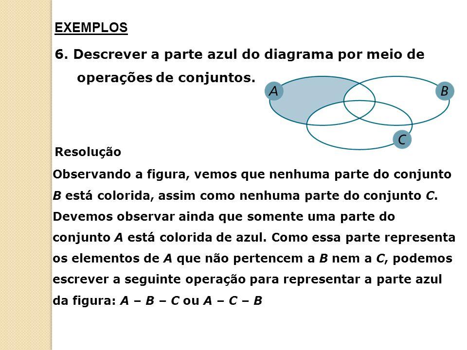 6.Descrever a parte azul do diagrama por meio de operações de conjuntos.