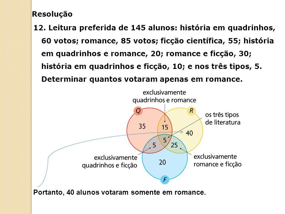 12. Leitura preferida de 145 alunos: história em quadrinhos, 60 votos; romance, 85 votos; ficção científica, 55; história em quadrinhos e romance, 20;