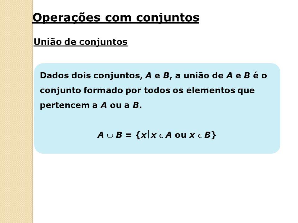 A = {xx é um número natural menor que 8} B = {xx é um número natural par menor que 10} Intersecção de conjuntos A B = {0, 2, 4, 6} A região hachurada representa A B.