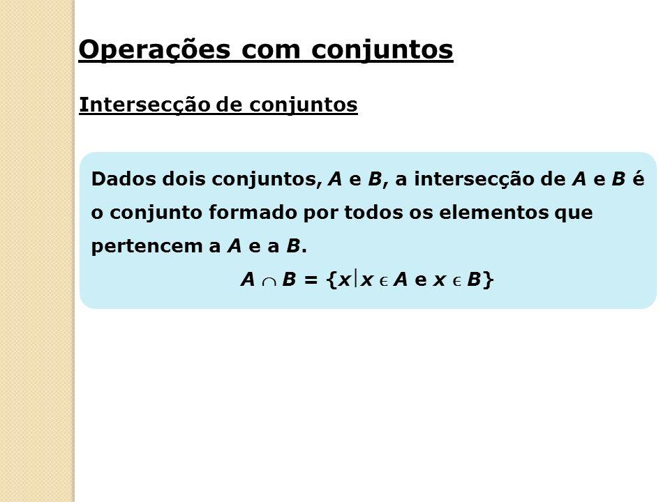 Dados dois conjuntos, A e B, a intersecção de A e B é o conjunto formado por todos os elementos que pertencem a A e a B.