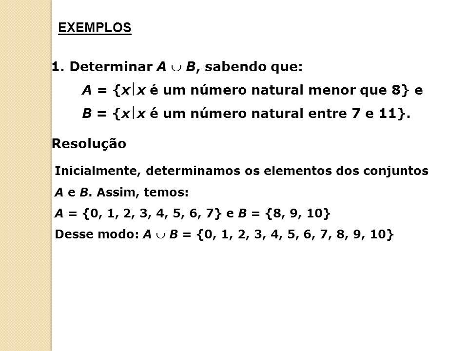 1. Determinar A B, sabendo que: A = {xx é um número natural menor que 8} e B = {xx é um número natural entre 7 e 11}. Resolução Inicialmente, determin