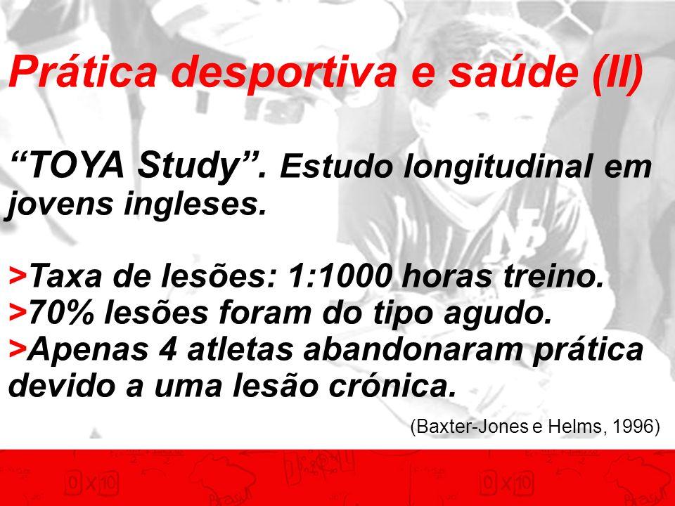 Prática desportiva e saúde (II) TOYA Study. Estudo longitudinal em jovens ingleses. >Taxa de lesões: 1:1000 horas treino. >70% lesões foram do tipo ag