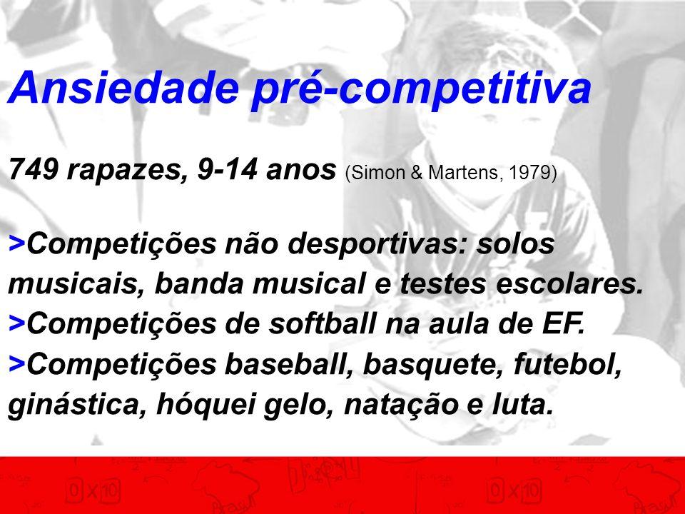 Ansiedade pré-competitiva 749 rapazes, 9-14 anos (Simon & Martens, 1979) >Competições não desportivas: solos musicais, banda musical e testes escolare