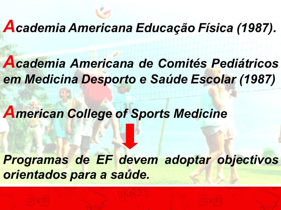 A cademia Americana Educação Física (1987). A cademia Americana de Comités Pediátricos em Medicina Desporto e Saúde Escolar (1987) A merican College o