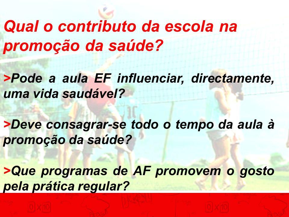 Qual o contributo da escola na promoção da saúde? >Pode a aula EF influenciar, directamente, uma vida saudável? >Deve consagrar-se todo o tempo da aul