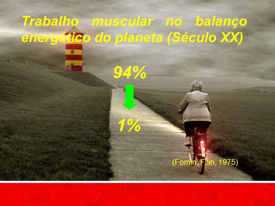 Trabalho muscular no balanço energético do planeta (Século XX) 94% 1% (Fomin, Filin, 1975)