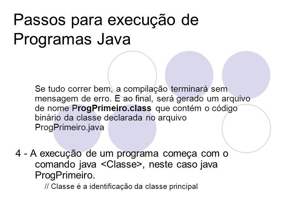 Passos para execução de Programas Java Se tudo correr bem, a compilação terminará sem mensagem de erro.