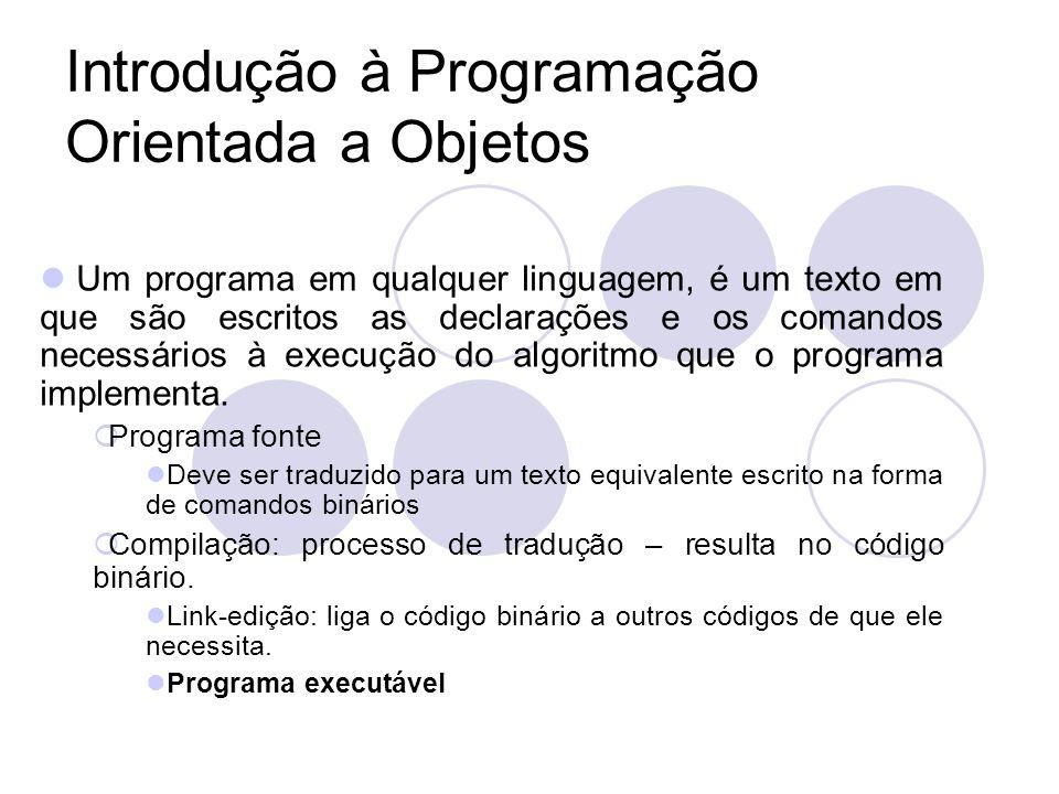Introdução à Programação Orientada a Objetos Um programa em qualquer linguagem, é um texto em que são escritos as declarações e os comandos necessários à execução do algoritmo que o programa implementa.