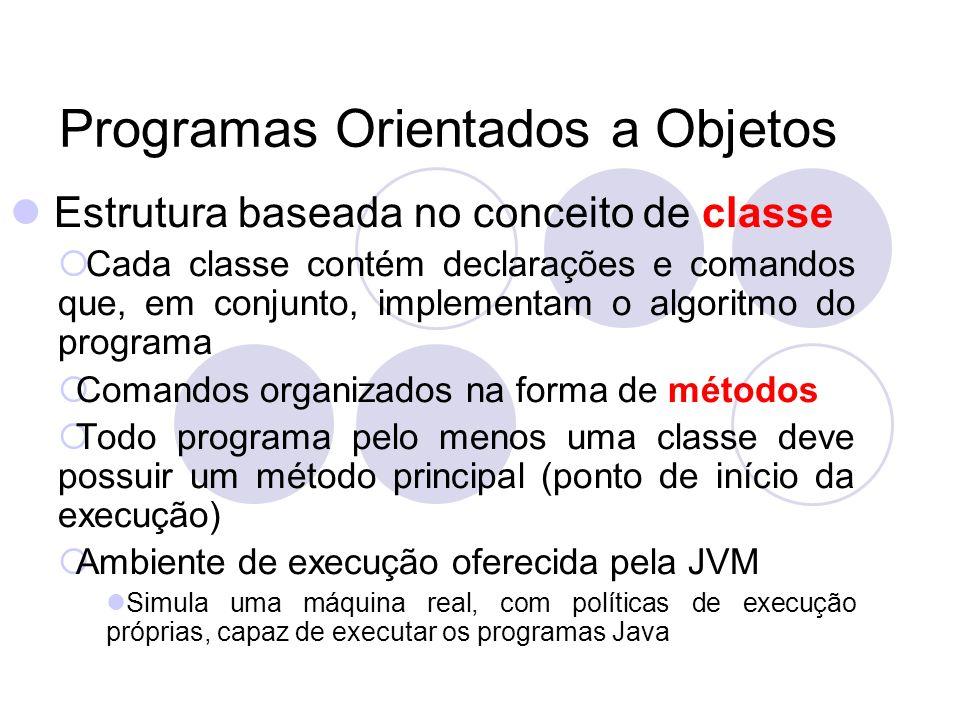 Programas Orientados a Objetos Estrutura baseada no conceito de classe Cada classe contém declarações e comandos que, em conjunto, implementam o algoritmo do programa Comandos organizados na forma de métodos Todo programa pelo menos uma classe deve possuir um método principal (ponto de início da execução) Ambiente de execução oferecida pela JVM Simula uma máquina real, com políticas de execução próprias, capaz de executar os programas Java