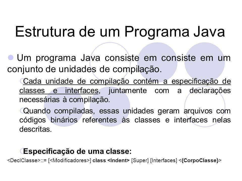 Estrutura de um Programa Java Um programa Java consiste em consiste em um conjunto de unidades de compilação.