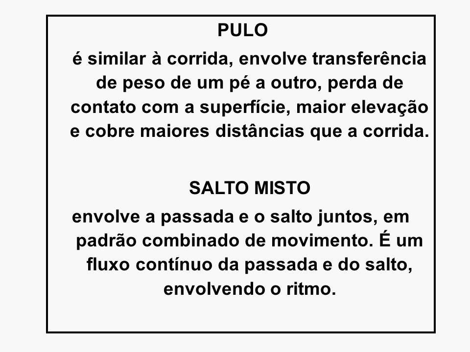 PULO é similar à corrida, envolve transferência de peso de um pé a outro, perda de contato com a superfície, maior elevação e cobre maiores distâncias