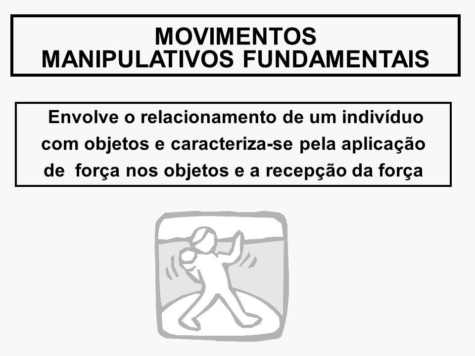 MOVIMENTOS MANIPULATIVOS FUNDAMENTAIS Envolve o relacionamento de um indivíduo com objetos e caracteriza-se pela aplicação de força nos objetos e a re
