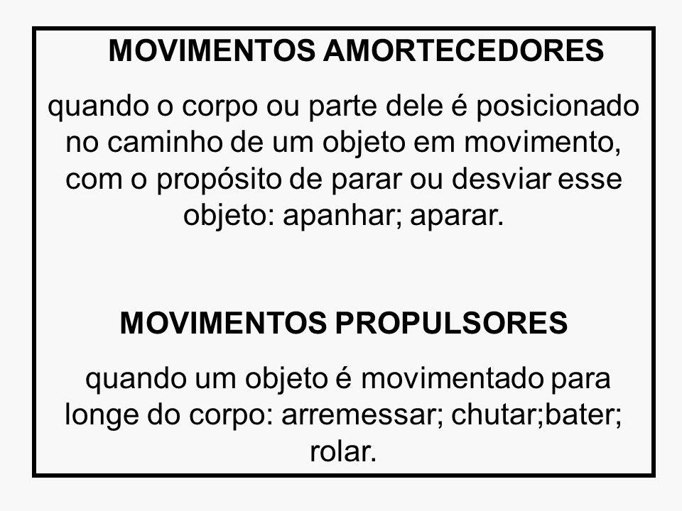 MOVIMENTOS AMORTECEDORES quando o corpo ou parte dele é posicionado no caminho de um objeto em movimento, com o propósito de parar ou desviar esse obj