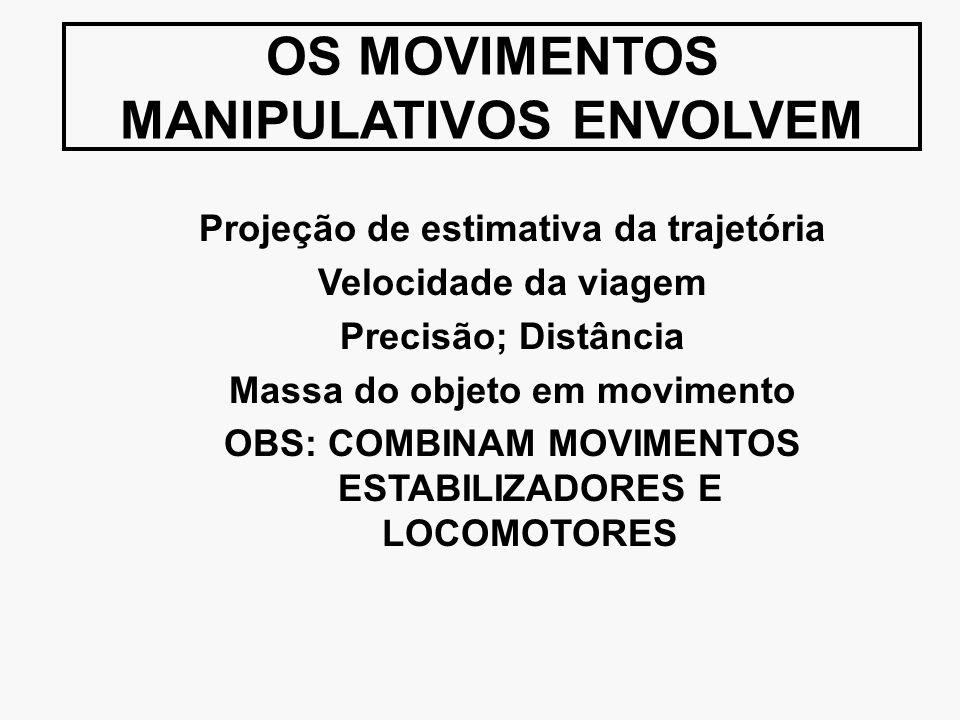 OS MOVIMENTOS MANIPULATIVOS ENVOLVEM Projeção de estimativa da trajetória Velocidade da viagem Precisão; Distância Massa do objeto em movimento OBS: C