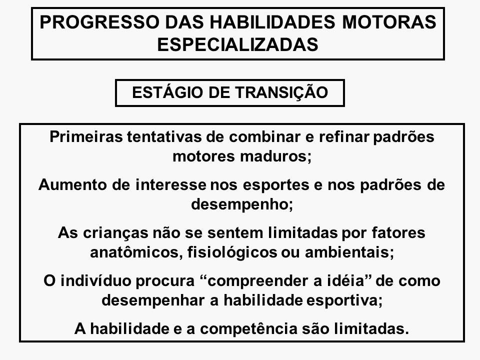PROGRESSO DAS HABILIDADES MOTORAS ESPECIALIZADAS ESTÁGIO DE TRANSIÇÃO Primeiras tentativas de combinar e refinar padrões motores maduros; Aumento de i