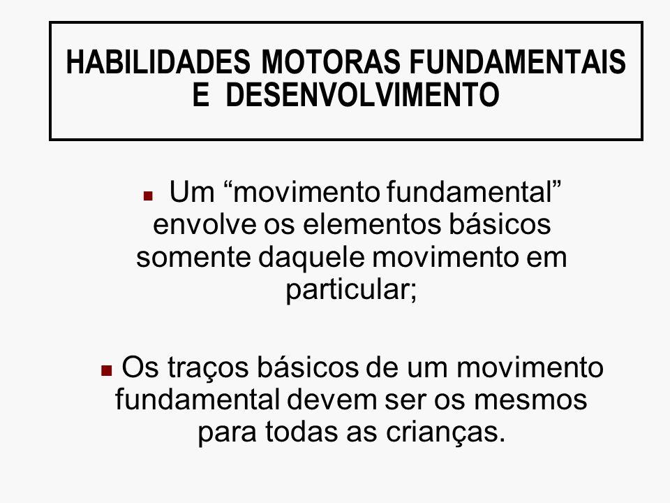 HABILIDADES MOTORAS FUNDAMENTAIS E DESENVOLVIMENTO Um movimento fundamental envolve os elementos básicos somente daquele movimento em particular; Os t
