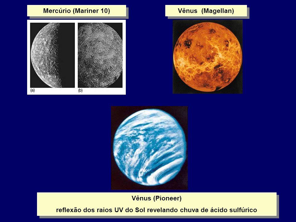 Mercúrio (Mariner 10) Vênus (Pioneer) reflexão dos raios UV do Sol revelando chuva de ácido sulfúrico Vênus (Pioneer) reflexão dos raios UV do Sol rev