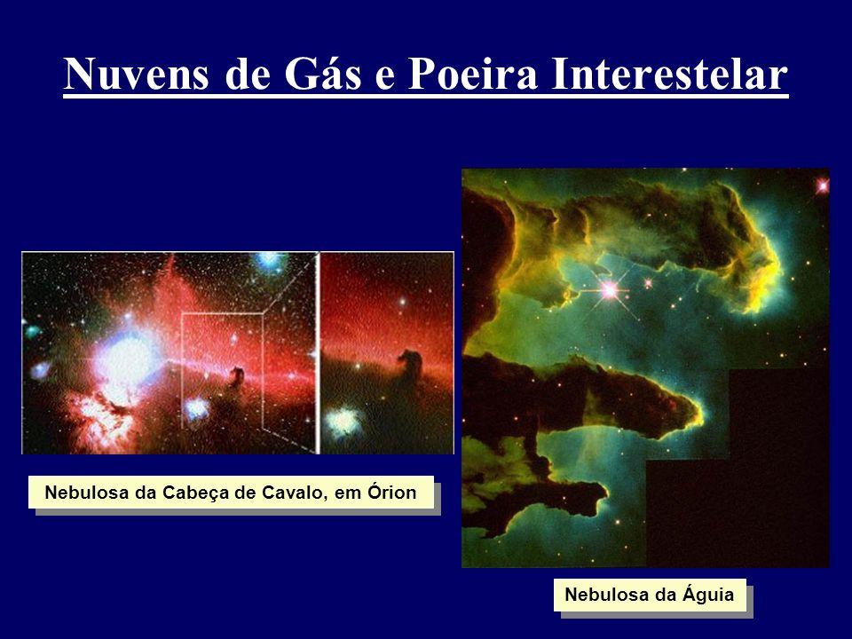 Nuvens de Gás e Poeira Interestelar Nebulosa da Cabeça de Cavalo, em Órion Nebulosa da Águia