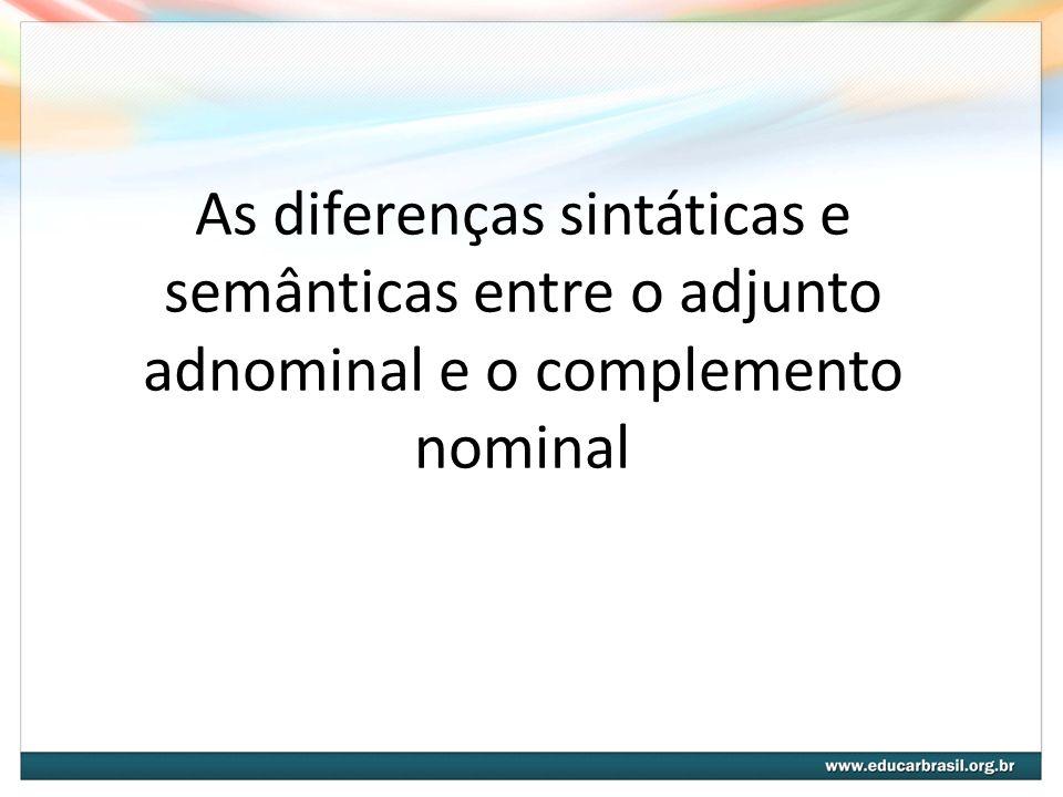 Adjunto Adnominal Definição: termo que modifica o sentido do substantivo, qualificando-o, especificando-o, determinando-o ou indeterminando-o.