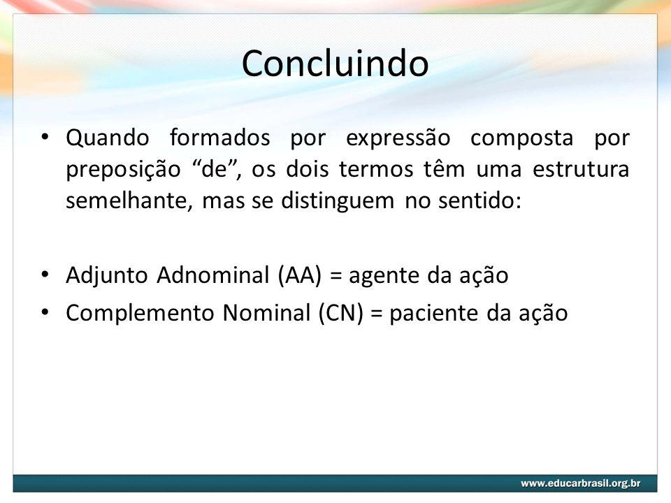 Concluindo Quando formados por expressão composta por preposição de, os dois termos têm uma estrutura semelhante, mas se distinguem no sentido: Adjunt