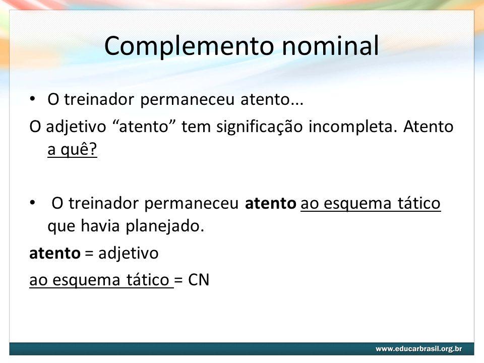 Adjunto Adnominal versus Complemento nominal A dificuldade de distinguir o Adjunto Adnominal do Complemento Nominal se dá quando ambos: Definem substantivos Aparecem formados pela preposição de.