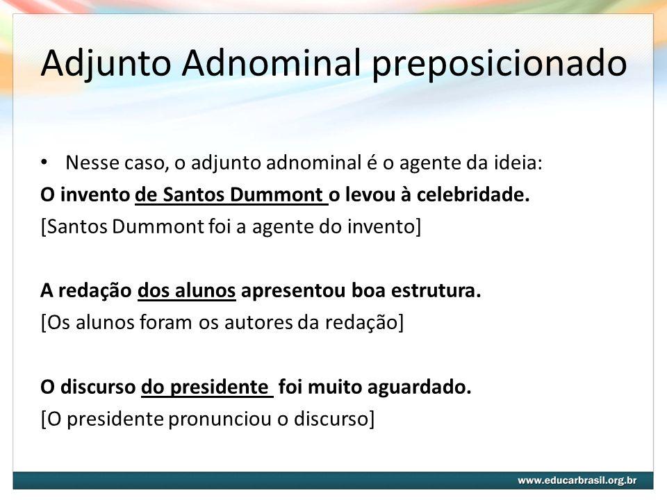 Complemento Nominal preposicionado Nesse caso, o Complemento Nominal é o paciente da ação indicada pelo substantivo : O invento do avião coube a Santos Dummont.