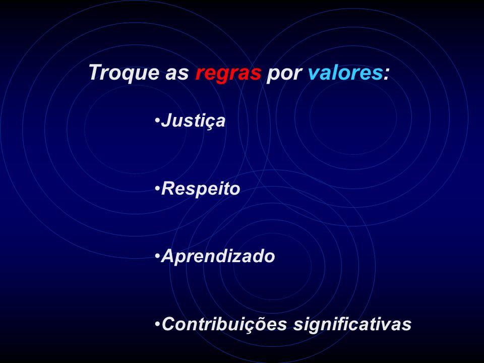 Troque as regras por valores: Justiça Respeito Aprendizado Contribuições significativas
