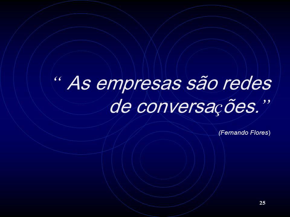 25 As empresas são redes de conversa ç ões. (Fernando Flores)