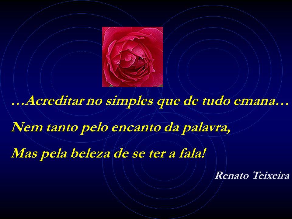 …Acreditar no simples que de tudo emana… Nem tanto pelo encanto da palavra, Mas pela beleza de se ter a fala! Renato Teixeira