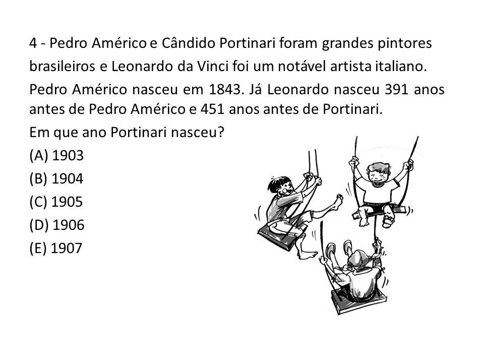 4 - Pedro Américo e Cândido Portinari foram grandes pintores brasileiros e Leonardo da Vinci foi um notável artista italiano. Pedro Américo nasceu em