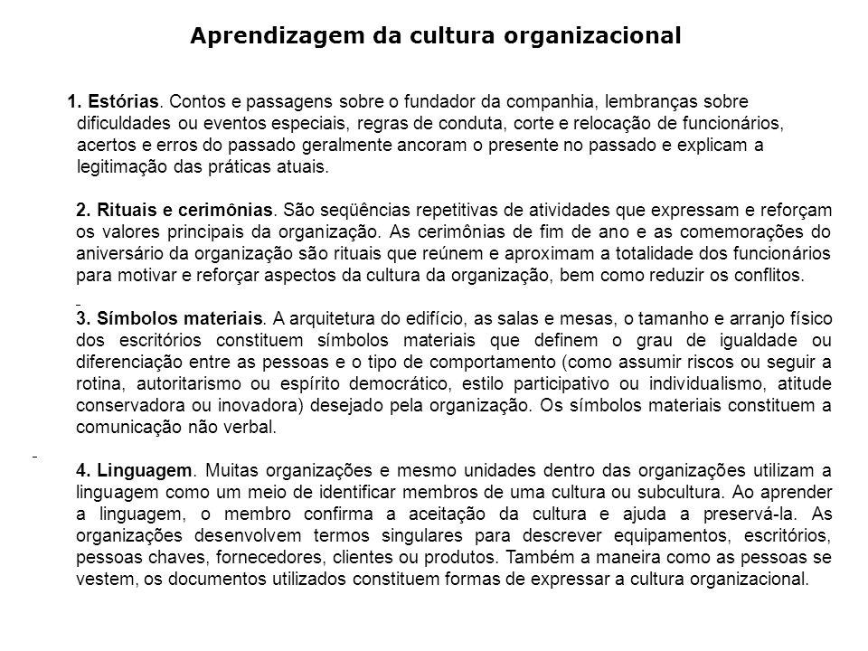 Aprendizagem da cultura organizacional 1. Estórias.