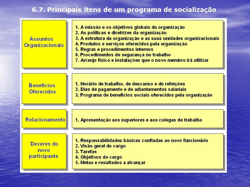 6.7. Principais itens de um programa de socialização