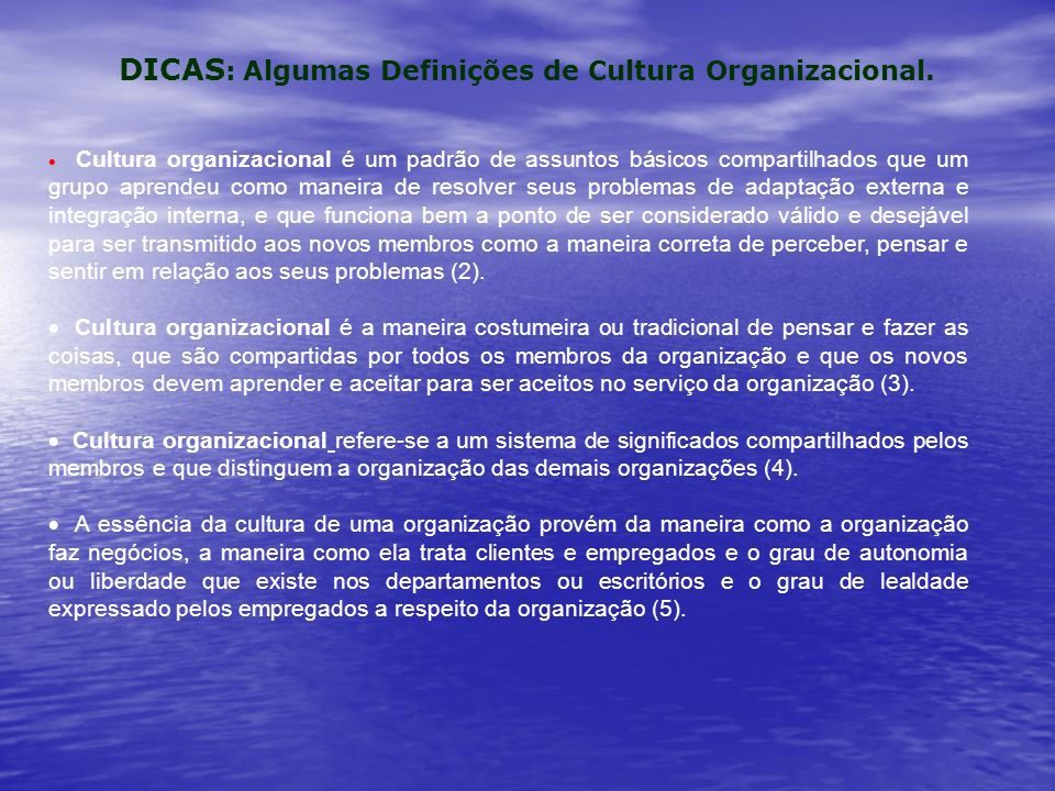 DICAS : Algumas Definições de Cultura Organizacional.