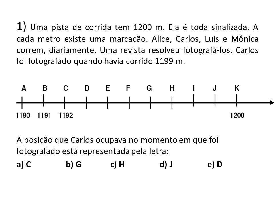 1) Uma pista de corrida tem 1200 m. Ela é toda sinalizada. A cada metro existe uma marcação. Alice, Carlos, Luis e Mônica correm, diariamente. Uma rev