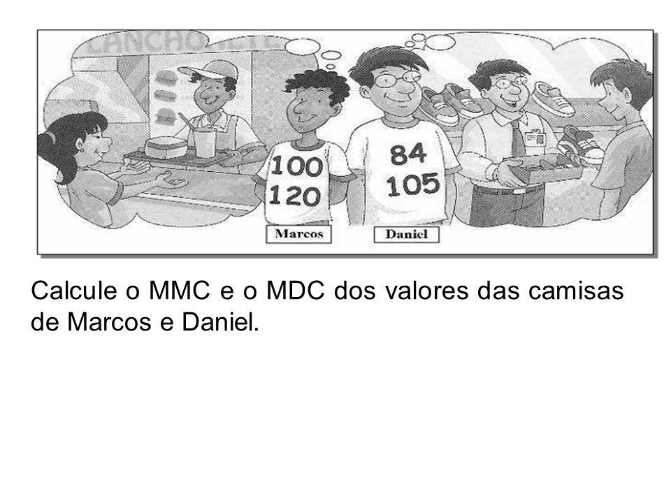 Calcule o MMC e o MDC dos valores das camisas de Marcos e Daniel.