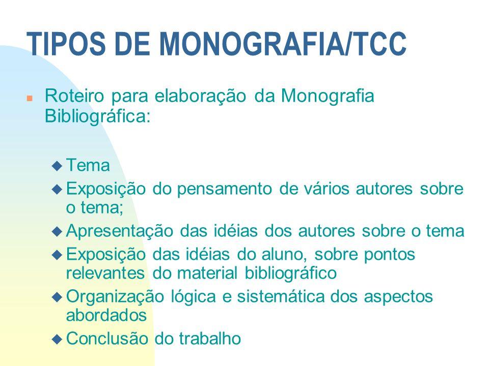 TIPOS DE MONOGRAFIA/TCC n Roteiro para elaboração da Monografia Bibliográfica: u Tema u Exposição do pensamento de vários autores sobre o tema; u Apre