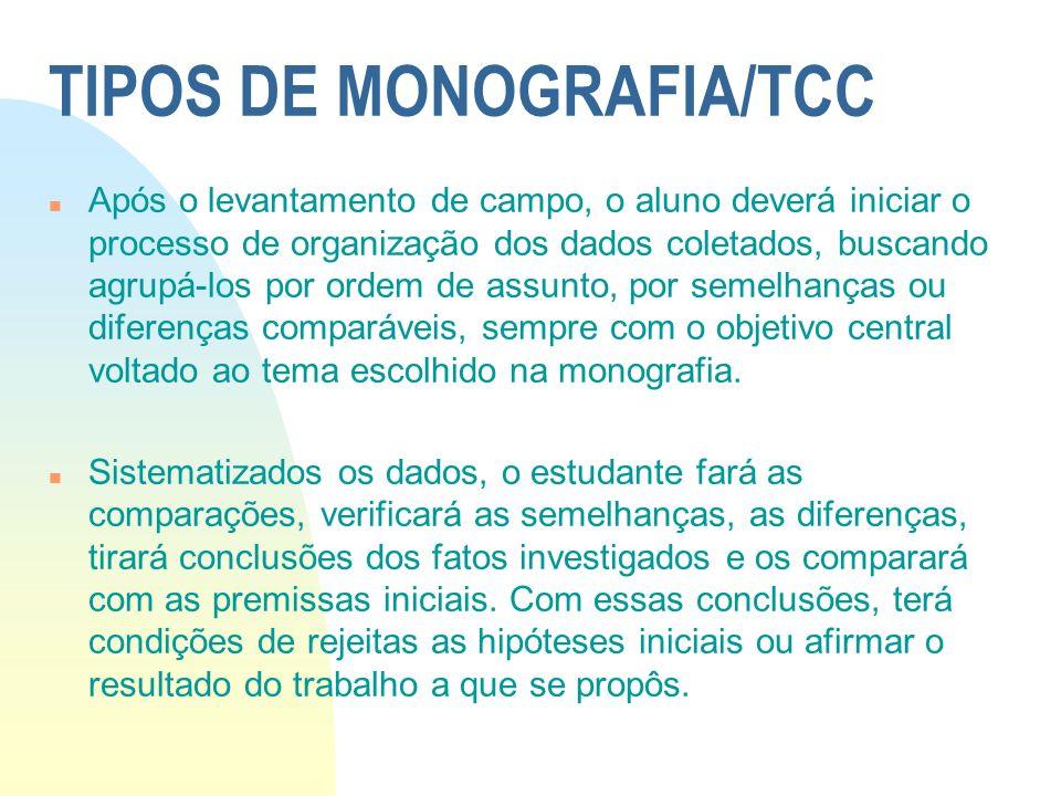 TIPOS DE MONOGRAFIA/TCC n Após o levantamento de campo, o aluno deverá iniciar o processo de organização dos dados coletados, buscando agrupá-los por