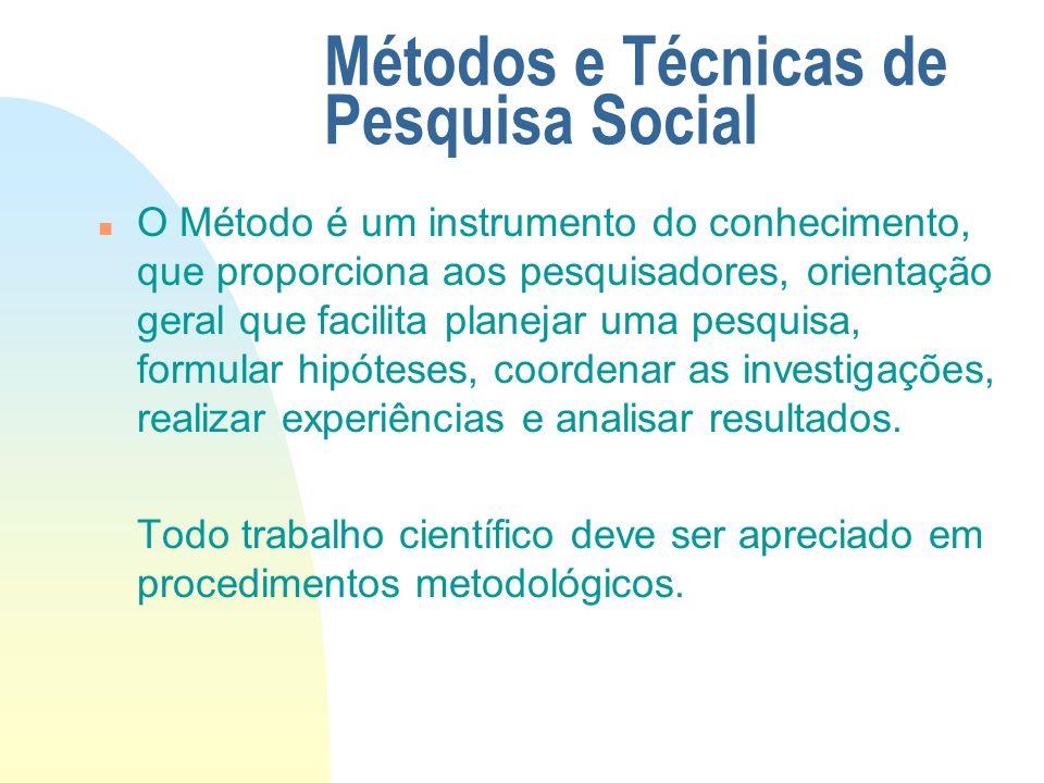 Métodos e Técnicas de Pesquisa Social n O Método é um instrumento do conhecimento, que proporciona aos pesquisadores, orientação geral que facilita pl
