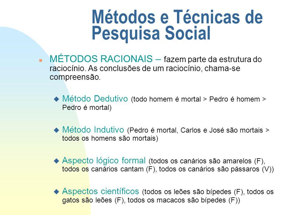 Métodos e Técnicas de Pesquisa Social n MÉTODOS ESPECÍFICOS DAS CIÊNCIAS SOCIAIS – u Método Observacional u Método Comparativo u Método Histórico u Método Experimental u Método Estudo de Caso u Método Funcionalista u Método Estatístico u Método Clínico
