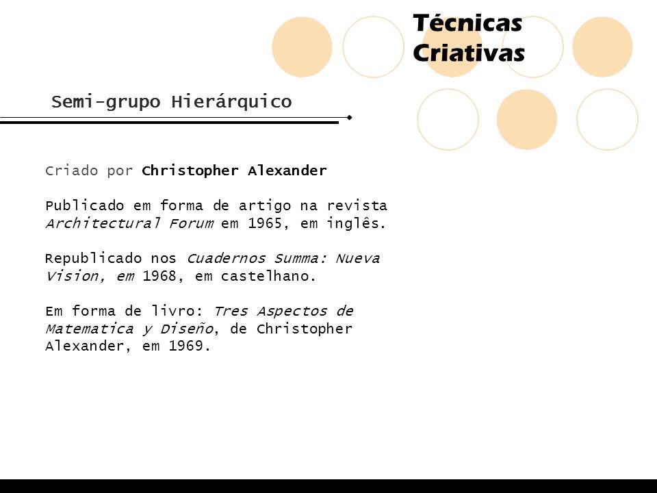 Técnicas Criativas Semi-grupo Hierárquico Criado por Christopher Alexander Publicado em forma de artigo na revista Architectural Forum em 1965, em ing