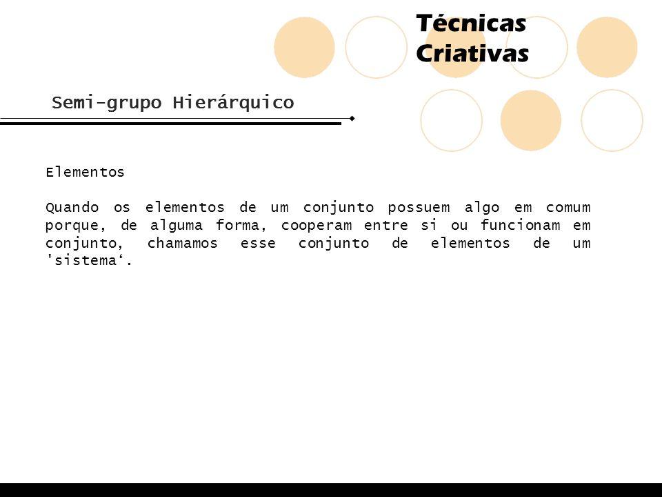Técnicas Criativas Semi-grupo Hierárquico Elementos Quando os elementos de um conjunto possuem algo em comum porque, de alguma forma, cooperam entre s