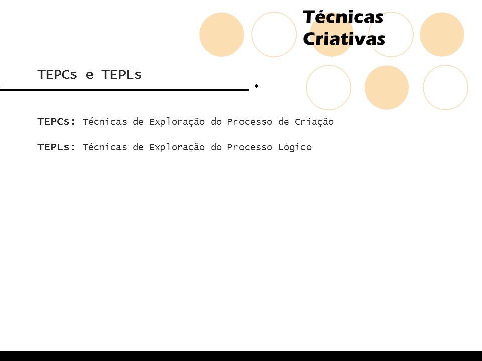 Técnicas Criativas TEPCs e TEPLs TEPCs: Técnicas de Exploração do Processo de Criação TEPLs: Técnicas de Exploração do Processo Lógico