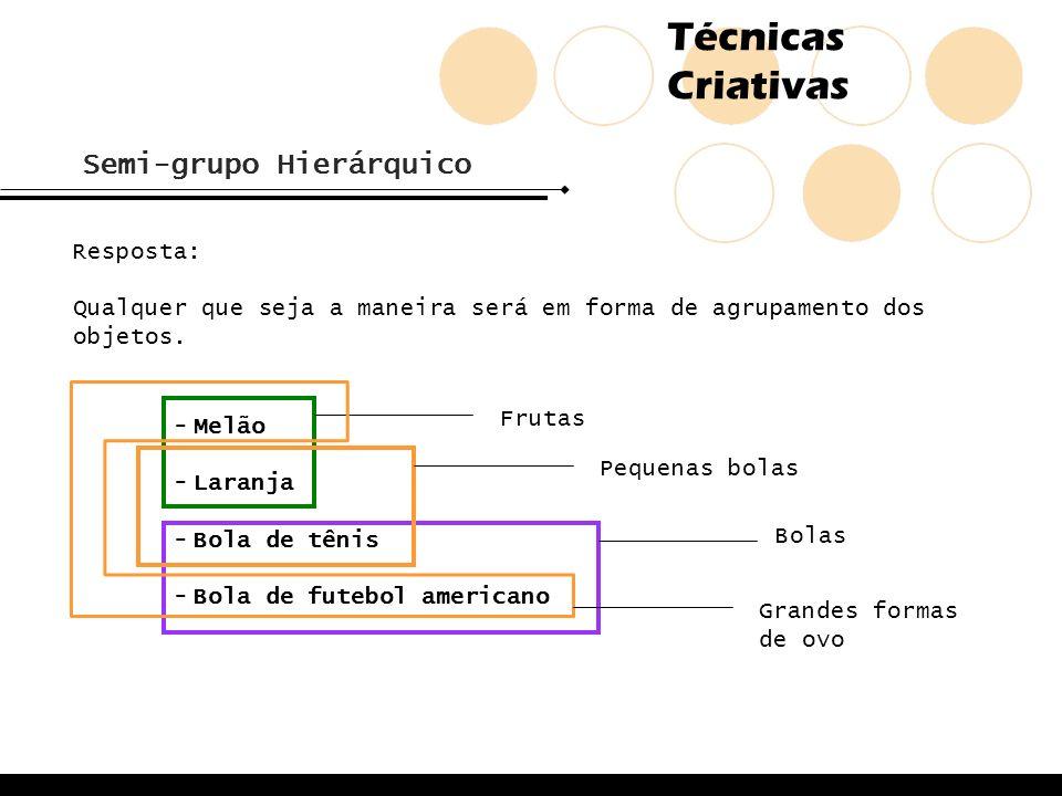 Técnicas Criativas Semi-grupo Hierárquico Resposta: Qualquer que seja a maneira será em forma de agrupamento dos objetos. -Melão -Laranja -Bola de tên